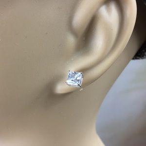 Kaki Jo's Closet Jewelry - CZ Square Diamond Stud Earrings Sterling Silver